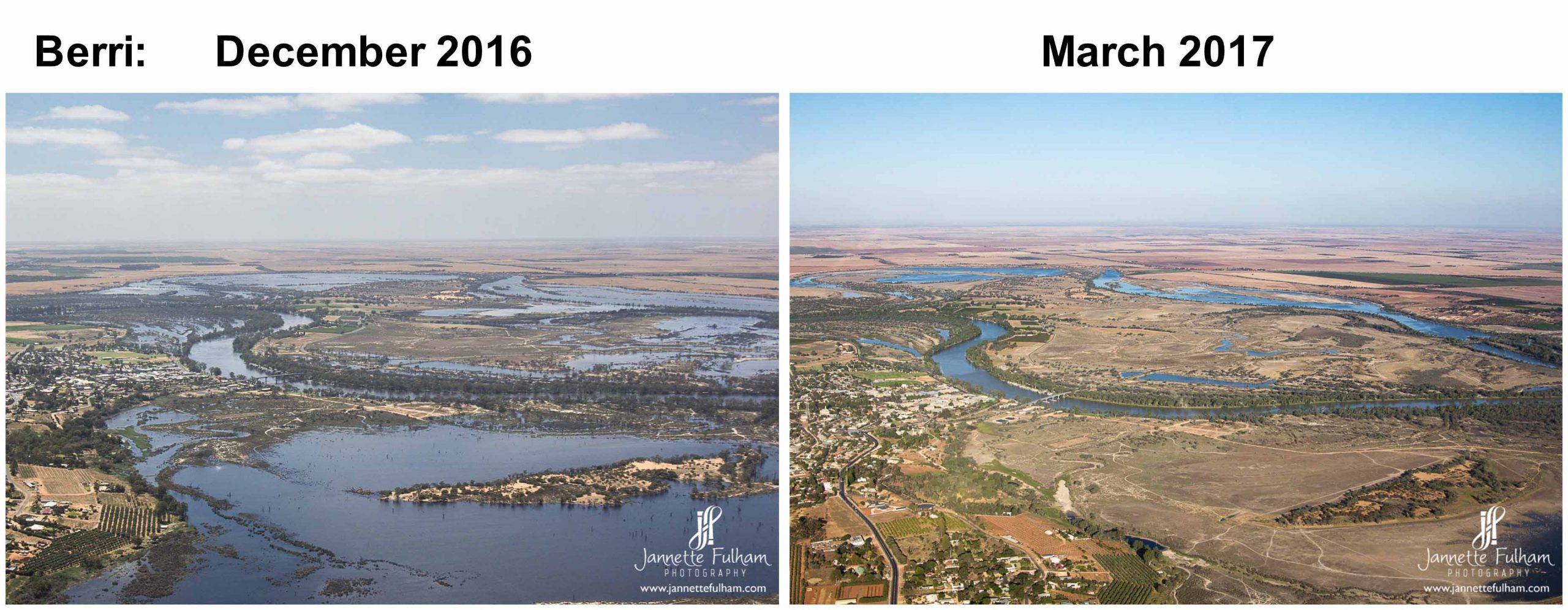 aerial, comparison, river, murray, berri